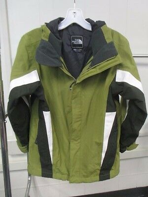 Boys Green Multi Hooded North Face Windbreaker Rain Jacket Size Medium
