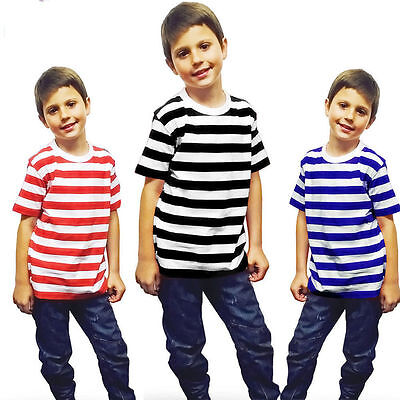 Kids Children Boys Short Sleeve Stripped T Shirt Summer School Top Fancy Dress