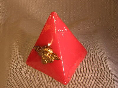 Candle Spirituality Collectible Pyramid Red Gold Metal Angel Home Decor