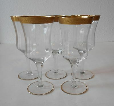 5 Tiffin-Franciscan Minton Clear, Gold Encrusted Water Goblets 7""