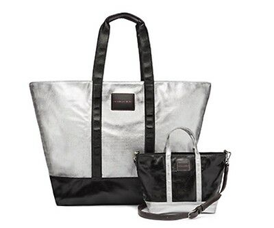 Victorias Secret Tote & Crossbody Bag Duo - Black Silver - 2017 - Nwt