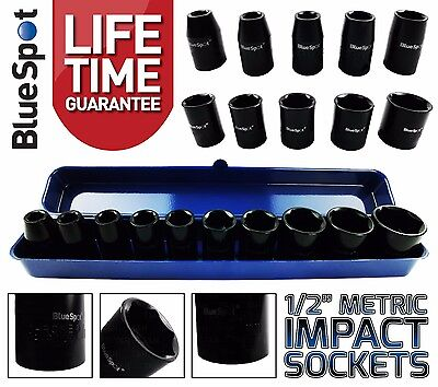 "1/2""Inch Drive IMPACT Socket Set Shallow Stubby Impact Sockets 9mm-27mm 6PT Hex"