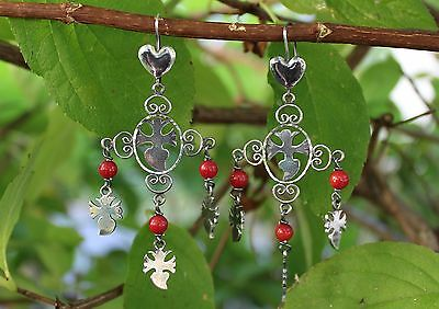 Traditional Yalalag Hand Made Coral & Sterling Chandelier Earrings Oaxaca Mexico
