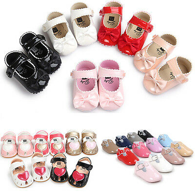 Baby Soft Sole Shoes Newborn Girl Toddler Princess Bow Crib Prewalker 0-18 Month