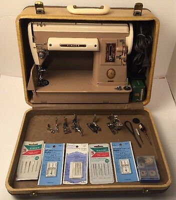 1956 Singer 301A Slant Featherweight Sewing Machine W/ Case, Pedal, Attachments