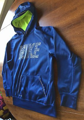 Nice Boys Athletic Nike Blue Therma-Fit Sweatshirt Hoodie Pocket Euc L