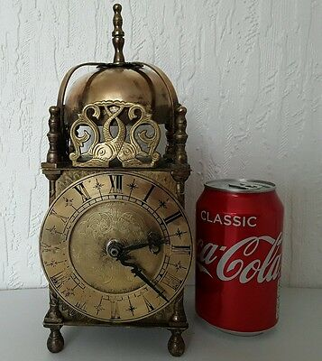Vintage Large Smiths Brass Lantern Clock Battery Operated Electric Movement