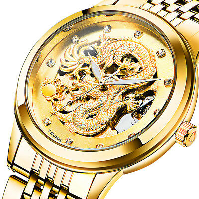 Retro Dragon Skeleton Design Stainless Steel Band Men Mechanical Wrist Watch