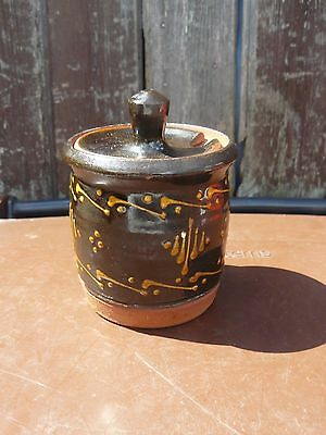 British Studio Pottery Slipware   Jam Pot Pin Lane  Plymouth