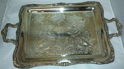 Vintage Wm Rogers Silver Plated: Butler Serving Tray #290 Eagle Star Silverplate