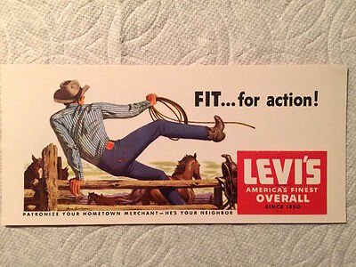 "Vintage advertising Ink Blotter, Levis ""America's Finest Overall"", 1940's"