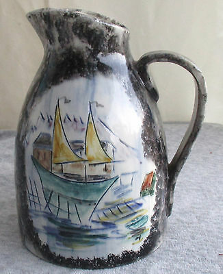 Vintage California Pottery Pitcher Hand Painted Ships