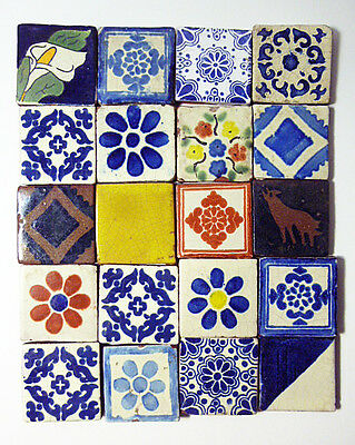 WONDERFUL SET OF 20 antique hand painted  Tala vera Tiles from estate