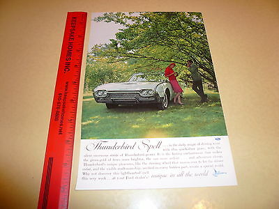 Ford Thunderbird T-Bird White Convertible Ad Advertisement Vintage