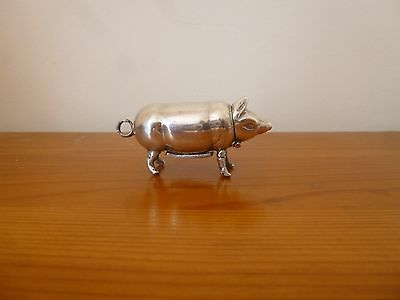 19c solid silver vesta case in the form of a pig
