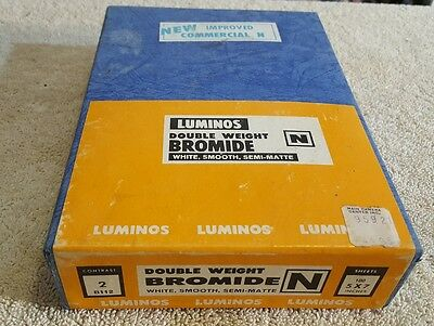 VINTAGE LUMINOS DOUBLE WEIGHT BROMIDE N WHITE SMOOTH SEMI-MATTE 5x7 PAPER