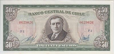 CHILE BANKNOTE P#141b  50 ESCUDOS SERIE F UNCIRCULATED  USA SELLER