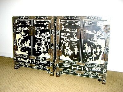 Antique Chinese CHESTS  Matched Pair of Concubine Traveling Make-Up Trunks c1840