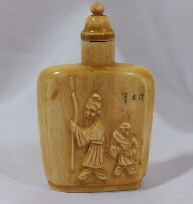 Antique Chinese Qing Dynasty Hand Carved & Scrimshaw Signed Snuff Opium Bottle