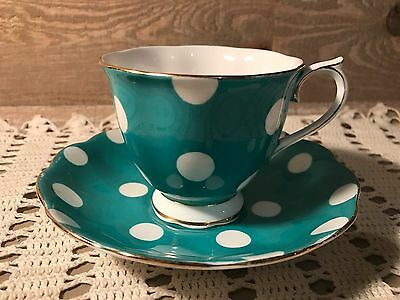Royal Albert Tea Cup and Saucer Turquoise Polka Dots
