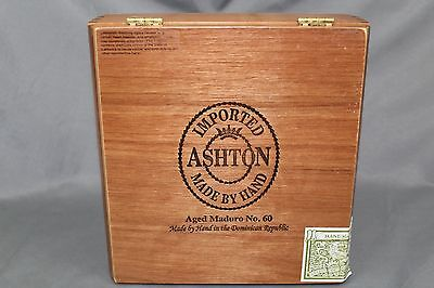 Wooden Cigar Box, Latch and Hinges, Ashton Monarch, Empty Box