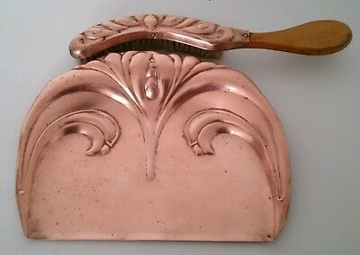 Antique Edwardian Art Nouveau Beldray Copper Crumb Tray & Brush