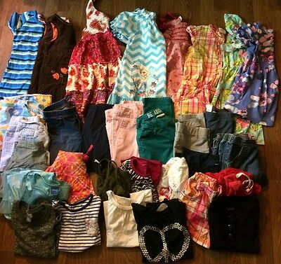 Girls Clothes Jeans Dresses Sz 5/6 Lot Of 38 Crazy8 Old Navy Carters