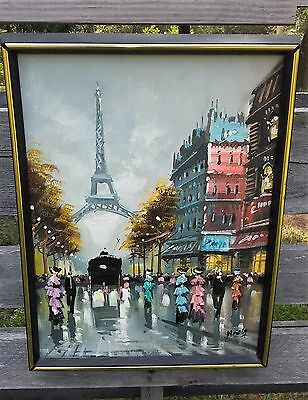 Vintage Paris Eiffel Tower Street Scene Painting Framed in NY and Signed