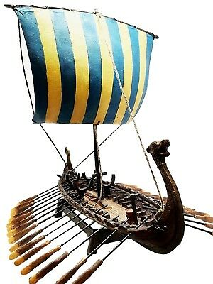 Norse Viking War Ship Battle Longship Figure Statue No Assembly Required
