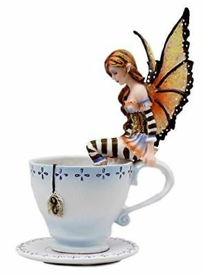 "Amy Brown Teacup Mocha Coffee Fairy Figurine Whimsical Faery 6.5"" Height"