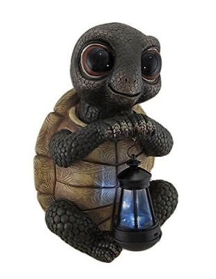 Twilight Turtle Garden Statue and Solar LED Lantern