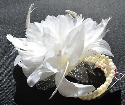 NEW Large cream flower on a stretch pearl bead corsage bracelet wedding prom