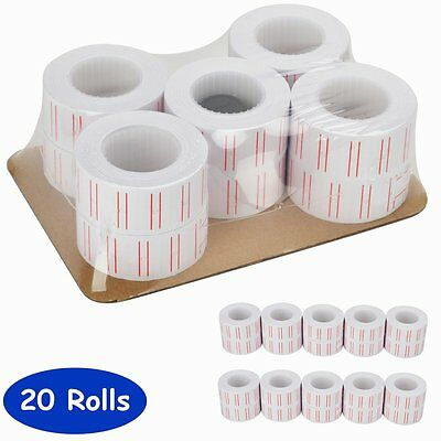 20 Rolls of 600 White Price Tags Sticker Gun Labels Refill For MX 5500 w/ 2 ink