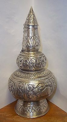 Ornate Antique Qajar Persian Islamic Chased Solid Silver Jar  Rabbit Pic 128.8 G