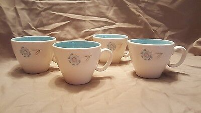MCM Vintage Taylor Smith Taylor Ever Yours Boutonniere Coffee Tea Cup Set of 4