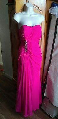 Pink bandeau maxi prom evening bridesmaid occasion diamante ruched dress size 10