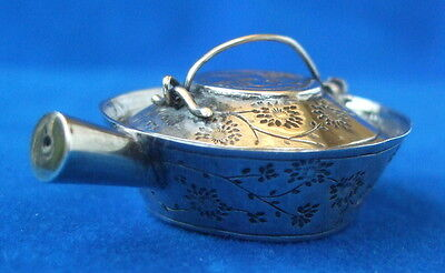 Antique Chinese Silver Miniature Pan & Lid w/Floral Motif - 19th Century