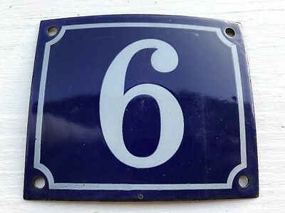 Vintage FRENCH Blue PORCELAIN DOOR HOUSE GATE Number Plate Sign 9 or 6