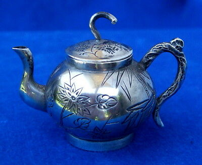 Antique Chinese Silver Miniature Teapot w/Floral & Bamboo Motif - 19th Century