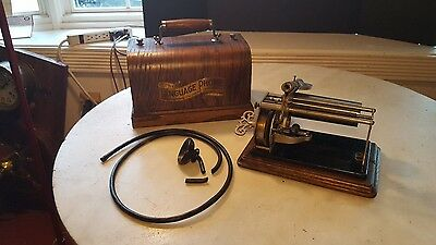 Antique Language Phone Columbia Cylinder Phonograph Key Wind - Plays!