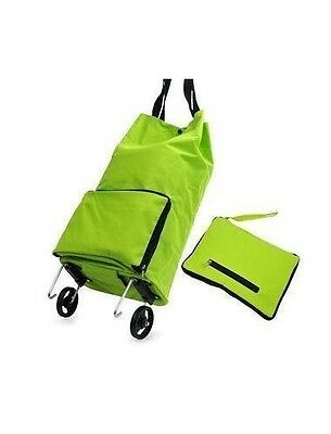 New Collapsible Foldable Wheeled Shopping Cart Bag Green Grocery Storage Trolley