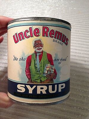 authentic Uncle Remus syrup can advertising 1924 vintage antique black Americana