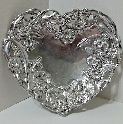 "Arthur Court Heart Shaped Tray W/Bunnies & Orchids - 10"" x 9 1/2"" - 1993"