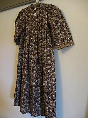 """Primitive Dress 25"""" Vintage Civil War Fabric Well Made with Hanger Wall Decor"""