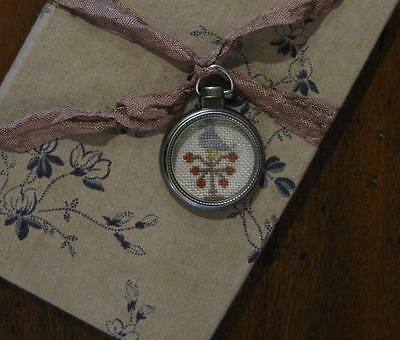 Primitive Fabric Covered Book / Pocket Watch Cross Stitch Fob
