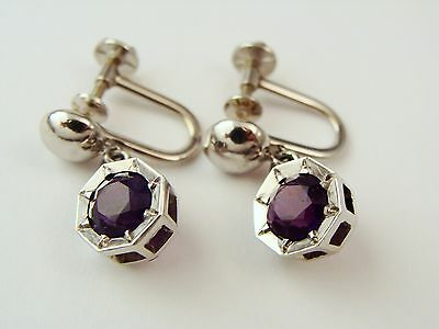 Vintage 14K White Gold 1.30Ct Amethyst Dangle Earrings Screw Back Octagon Shape