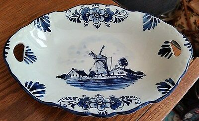 Vintage Delft Blue Relish Dish Made in Holland Handwork F.G. - Windmills