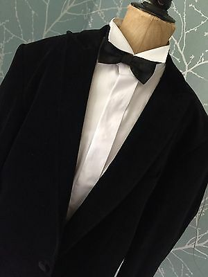 vintage Jones  MENS BLACK DINNER VELVET DANDY JACKET BLAZER 42reg