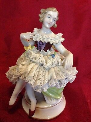 Dresden Crown N Seated Ballerina Figurine Porcelain Lace