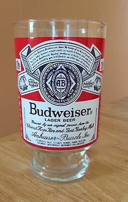 Vintage Large Budweiser Glass  Rare  EXC COND!!!